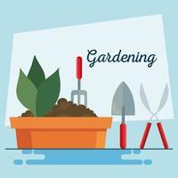 planta de jardinagem dentro de vaso, ancinho, pá e alicate desenho vetorial vetor