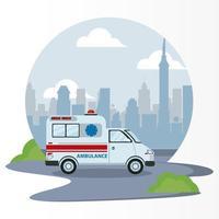 veículo de emergência de ambulância na cena da cidade vetor
