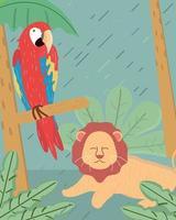 leão e arara vetor