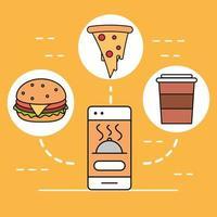 aplicativo de entrega de comida vetor