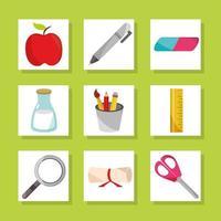volta às aulas educação ícones de cretificado de borracha de caneta de maçã vetor