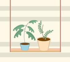 jardinagem vasos de plantas na decoração de prateleiras vetor