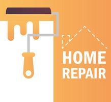 renovação e construção da cor da pintura do rolo de reparo doméstico vetor