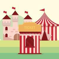 parque de diversões carnaval cabine cabine e castelo vetor
