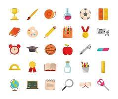 volta às aulas educação aula fornece coleção de ícones vetor