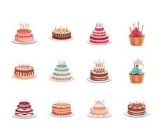 bolos deliciosos de aniversário, cupcakes decorados confeitarias com esmalte vetor