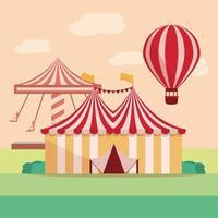 carrossel de barracas de carnaval de parque de diversões e balão de ar vetor