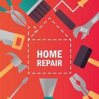 reparo doméstico, construção, renovação, ferramentas e equipamentos vetor