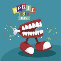 letras do dia da mentira com piada andando sobre dentadura vetor