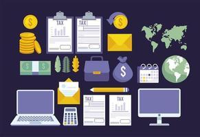 pacote de ícones de conjunto de pagamento de impostos online vetor