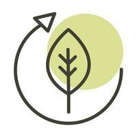 ícone de estilo de linha de energia sustentável alternativa ciclo ecologia de folha vetor