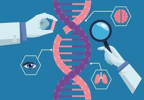 mãos de cientistas com DNA vetor