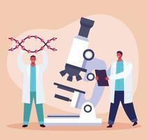 teste genético com microscópio vetor