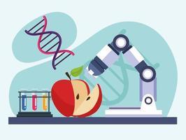 maçã teste genético vetor