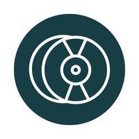 ícone de estilo de bloco de som de disco compacto de áudio vetor
