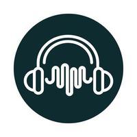 ícone de estilo de bloco de som de frequência de onda de fones de ouvido vetor