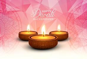 Fundo feliz do cartão do festival da lâmpada de óleo do diya do diwali vetor