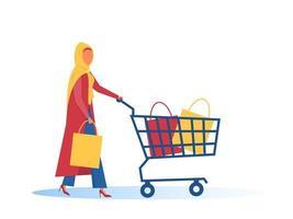 Mulher muçulmana hijab com design plano de carrinho de compras vetor