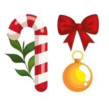 pirulito de natal com ícones decorativos vetor