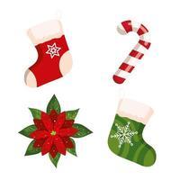 bastão de doces de natal e ícones decorativos vetor