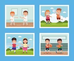 crianças praticando atividades vetor