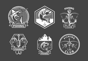 seis emblemas de pesca vetor