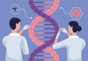 cientistas com DNA vetor