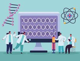 teste genético com desktop vetor