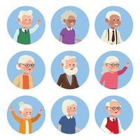 nove pessoas mais velhas vetor