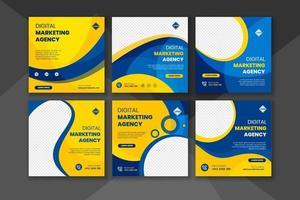 publicação de mídia social de marketing de negócios digitais e banner da web vetor