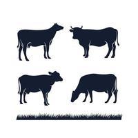 ilustração em vetor silhueta preta angus vaca