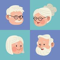 quatro cabeças de pessoas mais velhas vetor