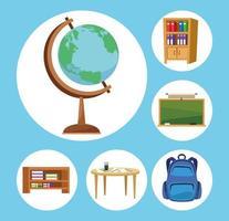 ícones da escola vetor