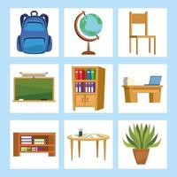 sala de aula definir ícones vetor