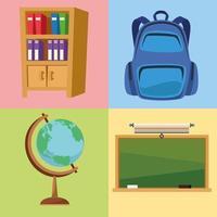 escola conjunto de ícones vetor