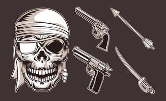 armas de caveira de pirata vetor
