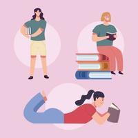 leitores meninas lendo livros personagens vetor
