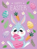 cartão de letras de feliz páscoa com coelho fofo abraçando o ovo vetor