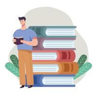 homem leitor lendo um livro em pé com uma pilha de livros e folhas vetor