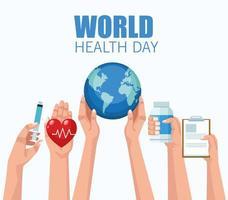 letras do dia mundial da saúde com mãos levantando ícones médicos vetor