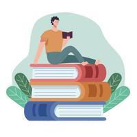 leitor homem lendo livro sentado em livros com folhas vetor