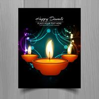 Projeto feliz do molde do folheto do festival da lâmpada de óleo do diya do diwali vetor