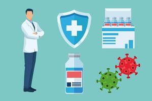 médico com vacina covid19 conjunto de ícones vetor