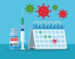 frasco da vacina covid19 e seringa com calendário vetor