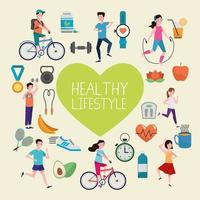 conjunto de ícones de coração com estilo de vida saudável vetor