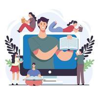 grupo de leitores pessoas com e-books em personagens de desktop vetor