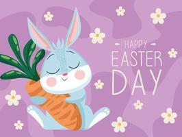Feliz Páscoa cartão letras com coelho fofo abraçando a cenoura vetor