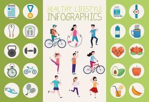 pessoas praticando exercícios e estilo de vida saudável definem ícones vetor