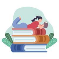 leitora lendo livro deitada em uma pilha de livros com folhas vetor