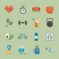 pacote de dezesseis ícones de estilo de vida saudável vetor